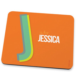 Double Initial Orange Mouse Pad