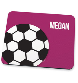 Girl Soccer Fan Purple Mouse Pad