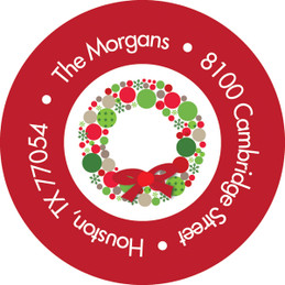 Bright Xmas Wreath Christmas Address Labels