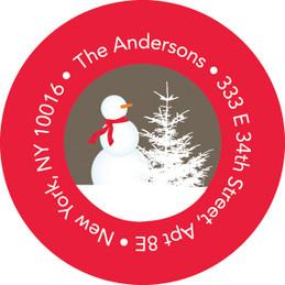Snowy Day Khaki Christmas Address Labels