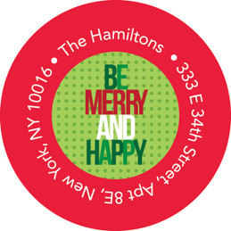 Be Merry And Happy Christmas Address Labels