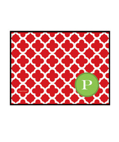 Elegance in Red Quatrefoil Doormat