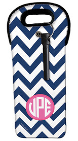 Blue and Pink Chevron Wine Tote
