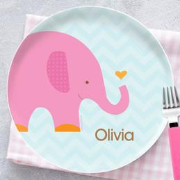Sweet Pink Elephant Kids Plates