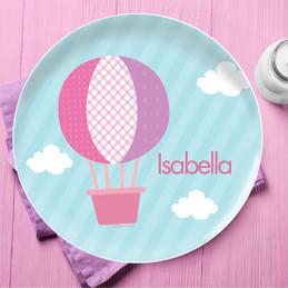Pink Hot Air Balloon Kids Dinnerware