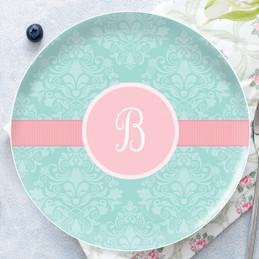 Pretty Blue Damask Personalized Melamine Plates