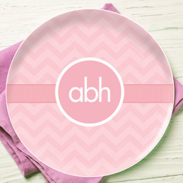Initials On Chevron Personalized Dishes