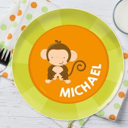 Cute Baby Monkey Personalized Kids Plates