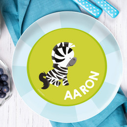 Cute Baby Zebra Personalized Plates For Kids