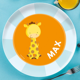 Cute Baby Giraffe Personalized Melamine Plates