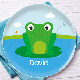 Cute Smiley Frog Personalized Melamine Plates