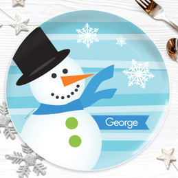 Blue Mr. Snowman Kids Plate