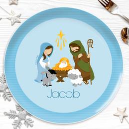 Nativity Set on Blue Kids Plate