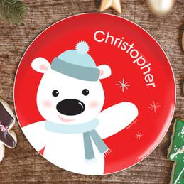 Cute Polar Bear Kids Plate