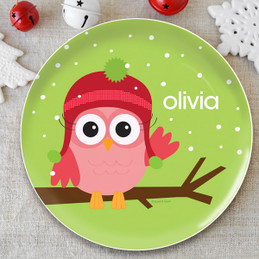 Xmas Baby Pink Owl Kids Plate