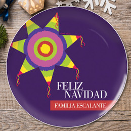 A Colorful Pinata Personalized Christmas plates