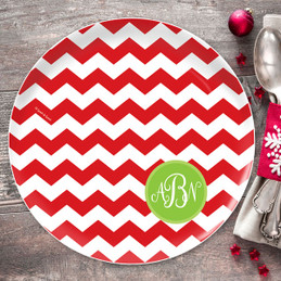 Chevron and Initials Personalized Christmas plate
