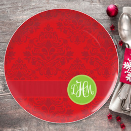 Simply Damask Personalized Christmas plate