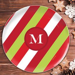 Bold Xmas Stripes Personalized Christmas plate