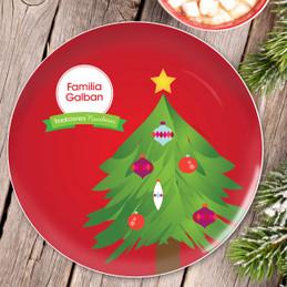La tradicion de el Arbol Personalized Christmas plate