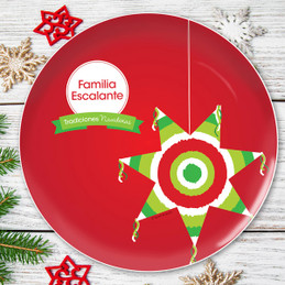 La Tradicion de la Pinata Personalized Christmas plate