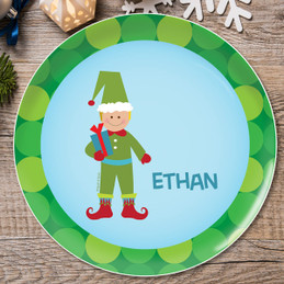 Cute Elf Boy Kids Plate