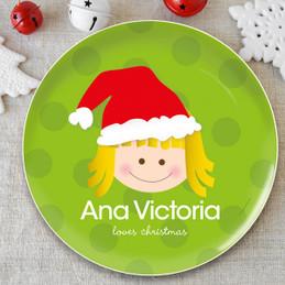 Santa's Hat Girl Kids Plate