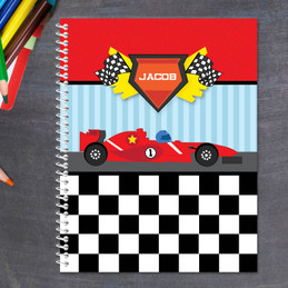 fast race car personalized notebook for kids