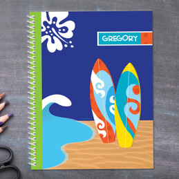 surf boards personalized notebook for kids