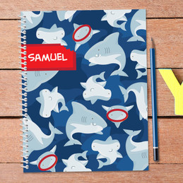 shark bite personalized notebook for kids