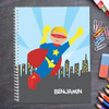 cool blonde superhero personalized notebook for kids