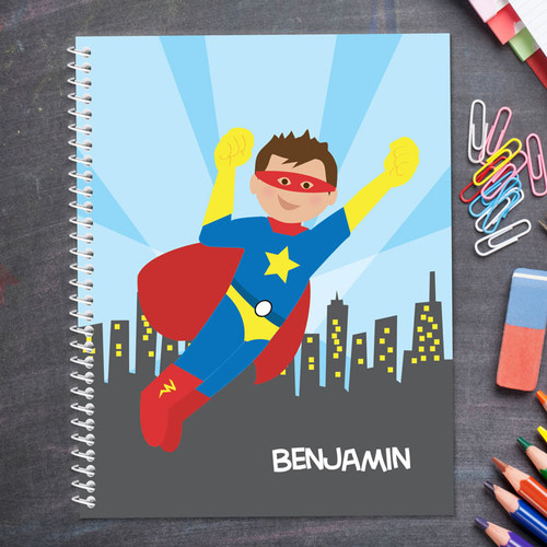cool brunette superhero personalized notebook for kids