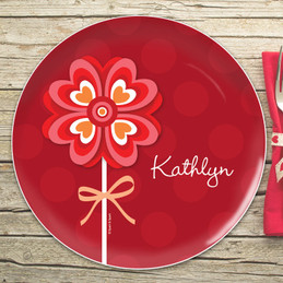 Lovely Heart Flower Kids Plates