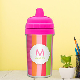Bold and Fun Stripes personalized sippy cups with names