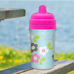 Sippy Cup for Milk with Blue Preppy Flowers