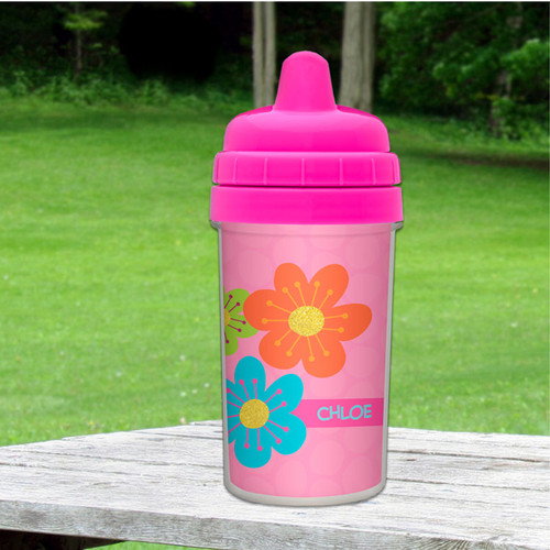 Shiny Bold Flowers Custom Sippy Cups
