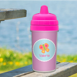 Girl Sippy Cups with Sweet Butterfly
