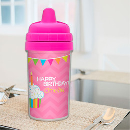 Happy bday girl toddler sippy cup