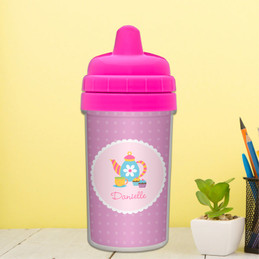 Cute No Spill Cup with Tea Time Design