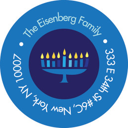 Hanukkah Menorah & Star Address Label