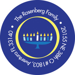 Hanukkah Menorah Address Label