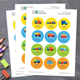 Transportation Waterproof Labels for Kids (Set of 48)
