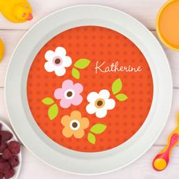 Preppy Flowers Orange Kids Bowl