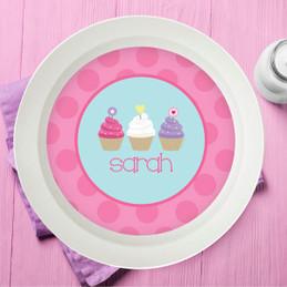 Three Sweet Cupcakes Girl Kids Bowl