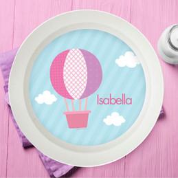 Pink Hot Air Balloon Kids Bowl
