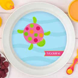Swimming Pink Turtle Kids Bowl