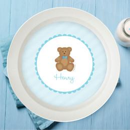 Cute Blue Teddy Bear Kids Bowl
