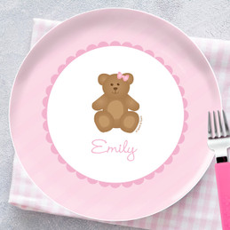 A Sweet Pink Teddy Bear Personalized Kids Plates