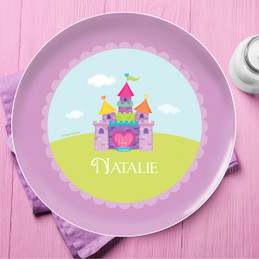 Pretty Heart Castle Personalized Plates For Kids