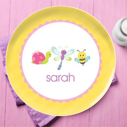 Three Sweet Little Bugs Personalized Kids Plates